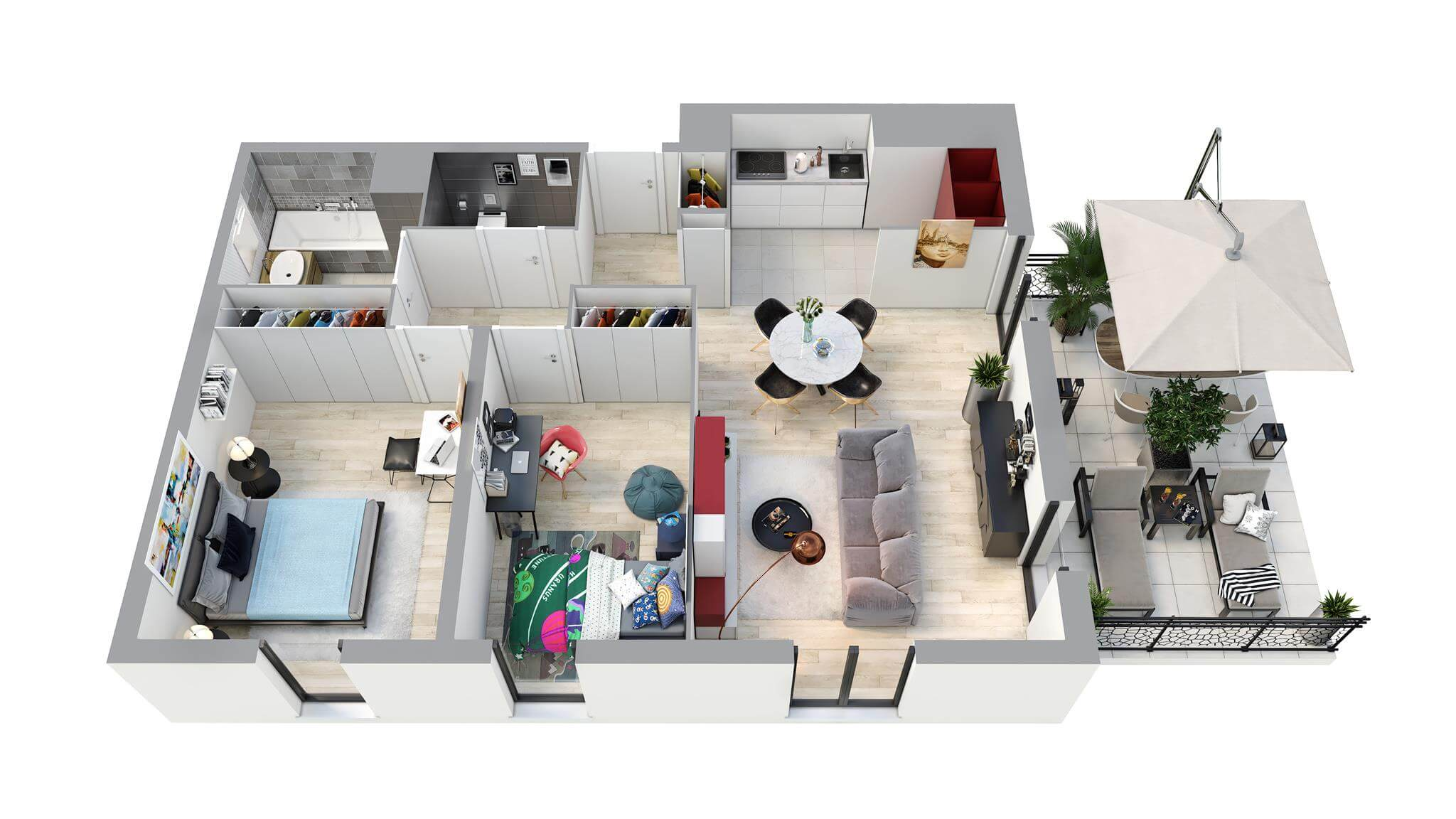 3D Apartment Floor Plans - House Floor Plans In 3D