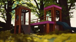 Wooden Playground With Slide In The Woods (exterior Cinematic In Ue4)